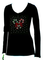 "Women's  T-shirts rhinestones Iron on ""Christmas candy set """