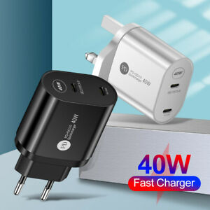 UK EU US Plug PD 40W USB-C Type C Fast Wall Charger Adapter For iPhone 12 Pro
