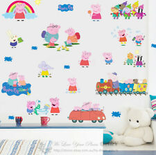 Peppa Pig Family Kids Wall Art Stickers Removable Nursery Decal Decor Art Mural