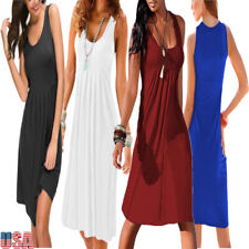 Summer Women Sleeveless Dress Casual Solid Dress O Neck Pullover Ruffle Dress US