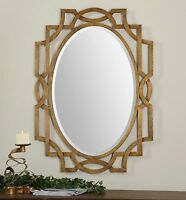 "NEW 41"" FORGED AGED GOLD LEAF FINISH METAL MODERN BEVELED WALL VANITY MIRROR"