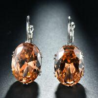 Handmade Huge Oval Honey Morganite Gemstone Silver Woman Dangle Hook Earrings