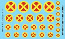 Scale Custom Waterslide Decals: X-Men Logos RED and YELLOW (OPAQUE)