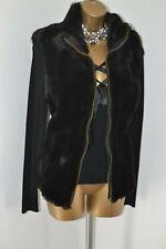 ~ DAVID EMANUEL ~ New Black Faux Fur Gilet Size 14 Dress Coat
