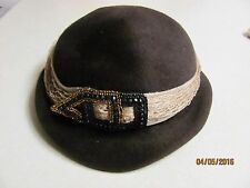 Vintage Stephen Anne Custom Made Hat Italy Brown Plus Vin. Net Veil Hat With Bow