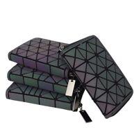 Luminous Geometric Wallet Holographic Reflective Clutch Standart Zipper Short