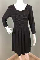 NWT Womens Max Edition 3/4 Sleeve Blk/White Polka Dot Fit & Flare Dress Sz Large