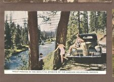 VINTAGE POSTCARD 1944 TROUT FISHING CASCADE MOUNTAINS OREGON