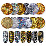 2 Boxes Holographic Nail Glitter Sequins Gold Silver Paillette Flakes Decoration