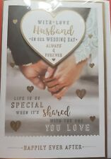 With love to My Husband partner on our Wedding day card verse hearts rings