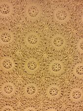 Antique Beige Crochet Tablecloth 82 x 68 Scallop Edge, Wheel & Spoke Pattern