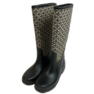Tory Burch Boots Rubber Rain Fabric Jacquard Logo Black Classic Tall Sz 9 FLAWS