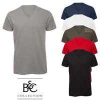 B&C MEN'S V-NECK T-SHIRT TEE PLAIN TOP FASHION STYLE 100% ORGANIC SOFT COTTON