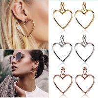 Romantic Heart Women Jewelry Big Hoop Earrings Hip-Hop Gold Silver Ear Studs