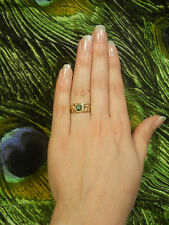 Wide Tribal Filigree Green Blue 0.65ct Moissanite 14k Solid Yellow Gold Ring 6.5