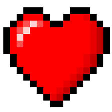 Framed Print – 8 Bit Red Love Heart (Picture Poster Old School Gaming Zelda Art)