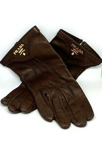 PRADA Triangle Logo Plaque Brown Leather Gloves Size: 8 RN: 98339-CA.34767