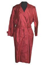 British Mist Trench Coat Womens 10 Burgundy Removable Liner Belted Full Length