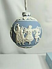 Wedgwood Jasperware Round Ball Merry Christmas & Happy New Year Ornament w/ Box