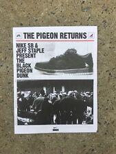 "JEFF STAPLE X NIKE SB DUNK BLACK PIGEON ""THE PIGEON RETURNS"" SNKRS NEWSPAPER"