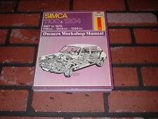 SIMCA 1100 & 1204 HAYNES WORKSHOP MANUAL. 1967 TO 1979.