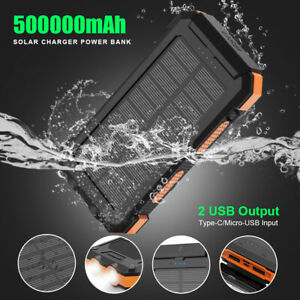 500000mAh Portable Solar Power Bank Dual USB Battery Charger for Mobile Phone UK
