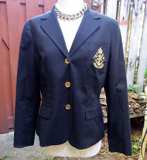 Ladies LRL Lauren Ralph Lauren Black Blazer Gold Crest Sz L Gold Buttons (US 14)