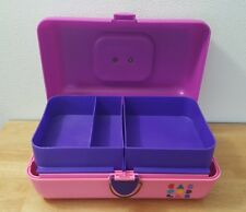 Vintage CABOODLES Violet & Pink Makeup Case Model 2602 Slide Trays