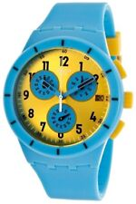 New Swatch Men SUSS400 Chrono Round Dial Blue Silicone Band Swiss Watch