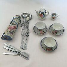 VINTAGE Childrens Floral Tea Set Japan & Aluminum Flatware Set w/ Case Germany