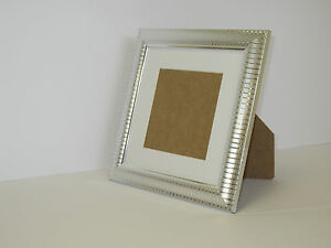 Two Tone Silver 6x6 Square Picture Photo Frame Mount 4x4 Free Standing