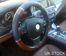 CAR STEERING WHEEL COVER GLOVE BLACK WALNUT DESIGN UNIVERSAL FIT WOODEN WOOD NEW