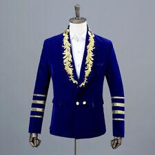 Mens Embroidered Velvet Double-breasted Suit Jacket Blazer Groom Wedding Formal