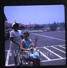 1960s amateur Kodachrome  Photo slide Nurse with lady in wheelchair