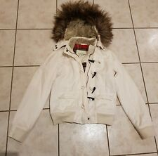 Excellent Abercrombie Fitch Women's Jacket - Size L white Fur Lined Hooded,