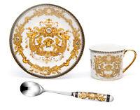 3 Piece Euro Porcelain Medusa Fine Bone China Tea Cup Set w/ Spoon - 24K Gold