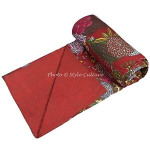 Indian Red Kantha Bedding Bedspread Coverlet Blanket Gudari Rally Quilt Throw