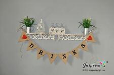 DRINKS Hessian Bunting Burlap Banner Wedding