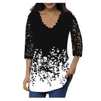 Plus Women Lace Tops 3/4 Sleeve V Neck T Shirt Ladies Floral Blouses Tunic LIU9