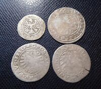 POLAND - GERMANY / 4 x MEDIEVAL SILVER COINS LOT 1.
