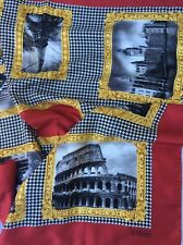 "CARLISLE 35""X 34"" Black,Red,Gold Scarf Rome,Paris,London"