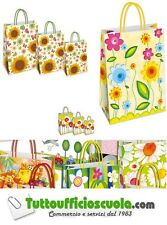 25 BUSTE SHOPPERS IN CARTA  KRAFT - cm 36x12x41 COLORI E FANTASIE ASSORTITI