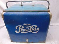 "Vintage Pepsi Cola Blue Metal Cooler w/ Tray Progress Refrigerator 18"" x 19"" 12"""