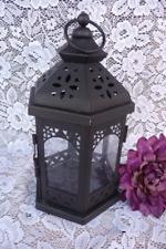 Black Hexagon Intricate Die-cut Metal & Glass Candle Holder Centerpiece Lantern