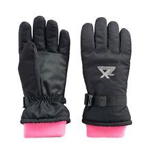 ZeroXposur Girls Nancy Black Thinsulate Gloves with Pink Fleece Gaiter (M/L) Nwt
