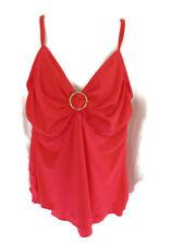 Island Escape Swim Tankini Tank Top Swimwear Red U Wire Twist Women's Size 18W