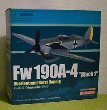 """DRAGON 1/72 SCALE WW II GERMAN Fw 190A-4 """"BLACK 1"""" HORST HANNIG 50083"""