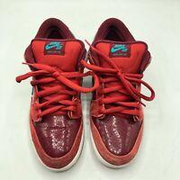 "Nike Sb Dunk Red Low Men's Size 9 US 8 UK ""Brickhouse Turbo Green"" 304292-636"