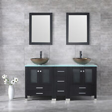 "60"" Double Bathroom Glass Basin Sink Solid Wood Vanity Cabinet W/Mirror Set New"