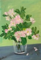 Print of Original painting art Vase of flowers floral Impressionism shabby chic